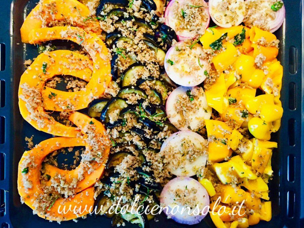 La mollica sbriciolata  e gli ortaggi gratinati