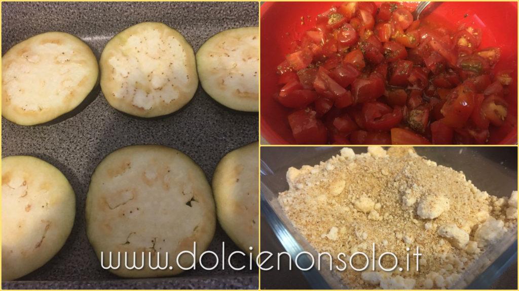 preparazione melanzane con pomodorini e pangrattato