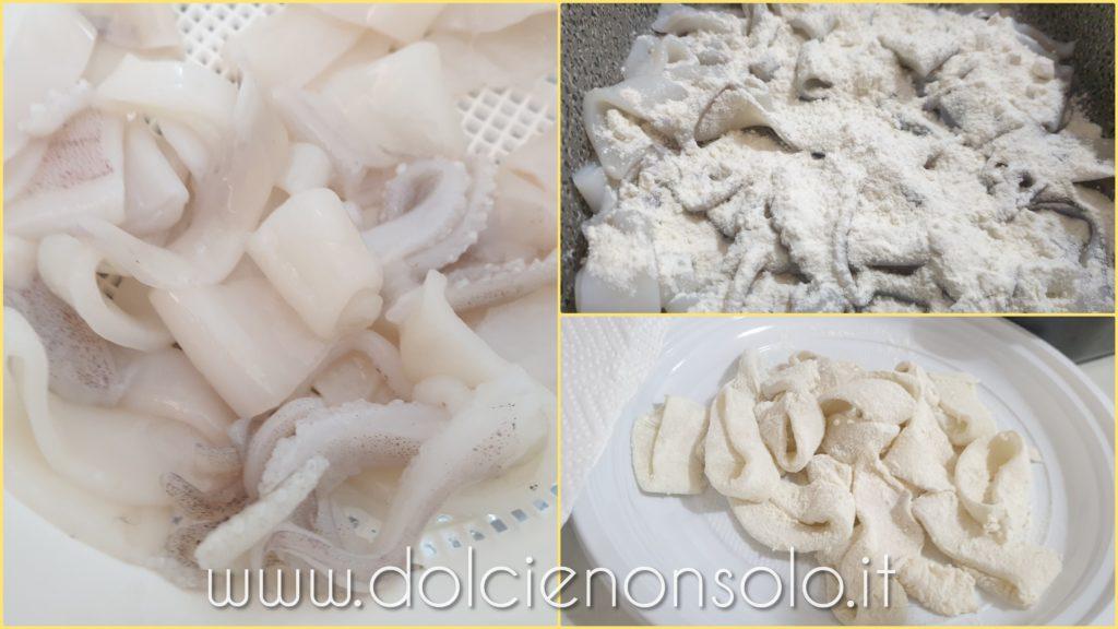 pulizia e taglio calamari