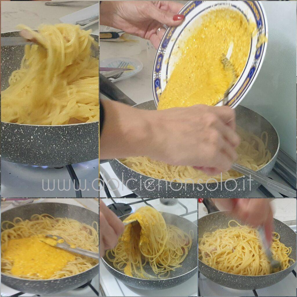 mantecatura spaghetti alla carbonara