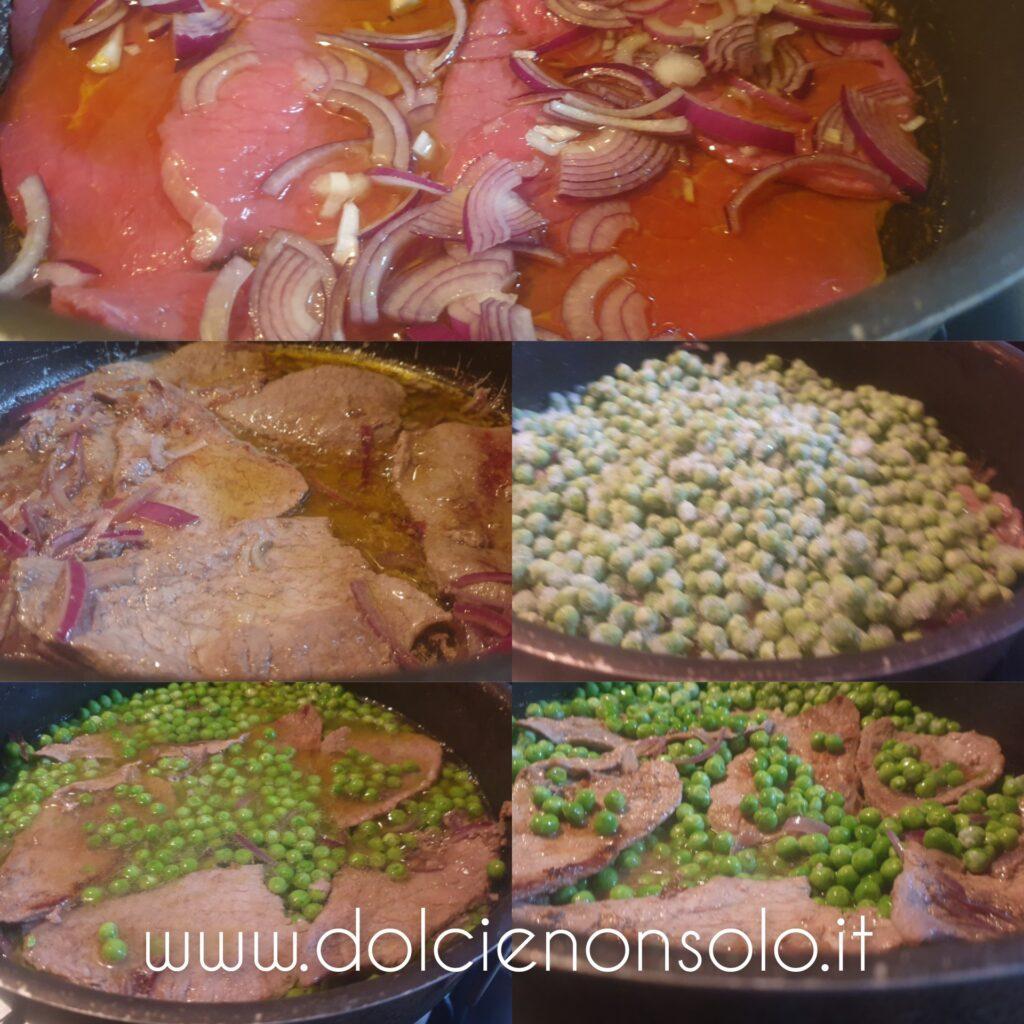 fasi preparazione carne in bianco con piselli
