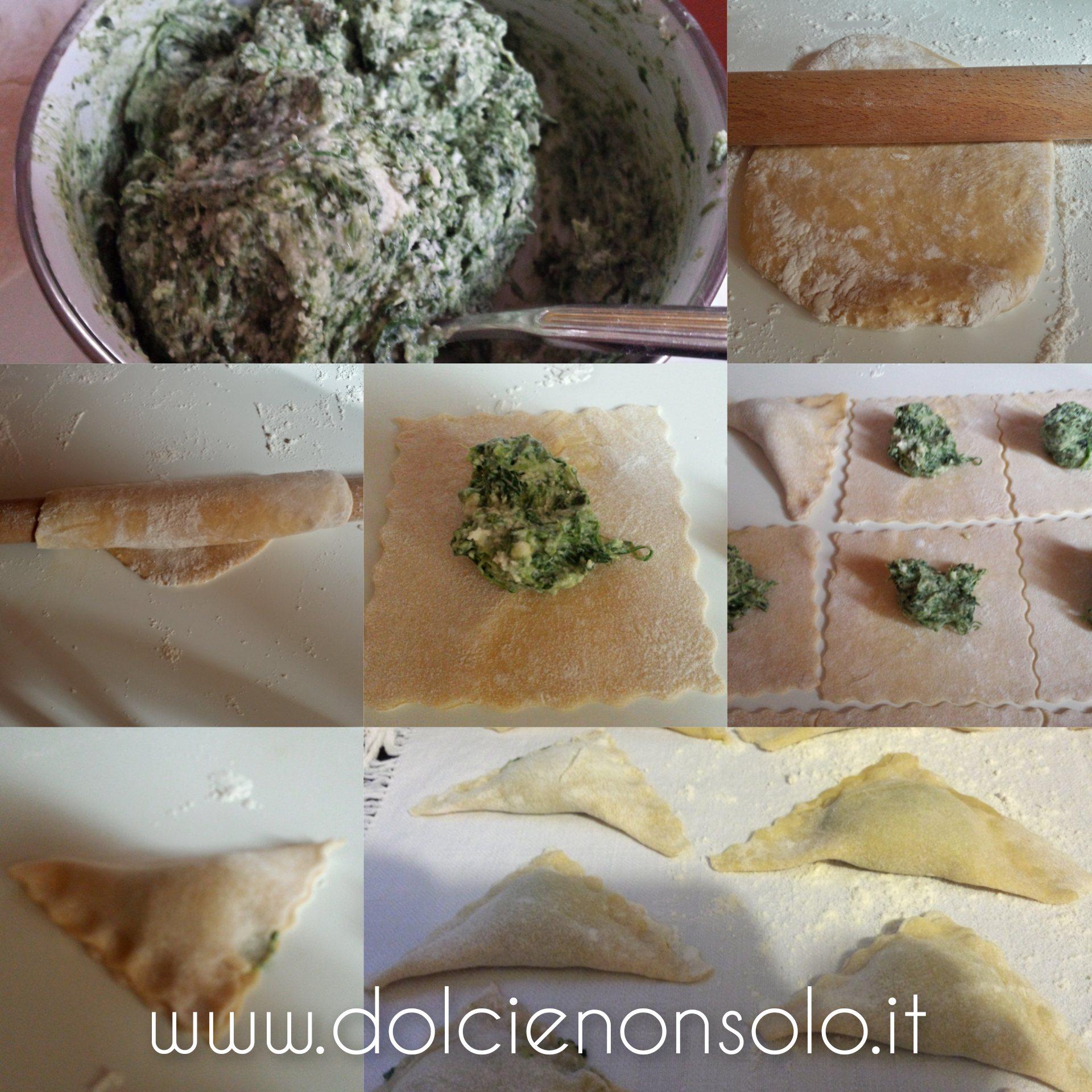 preparazione triangoli freschi con ricotta e spinaci