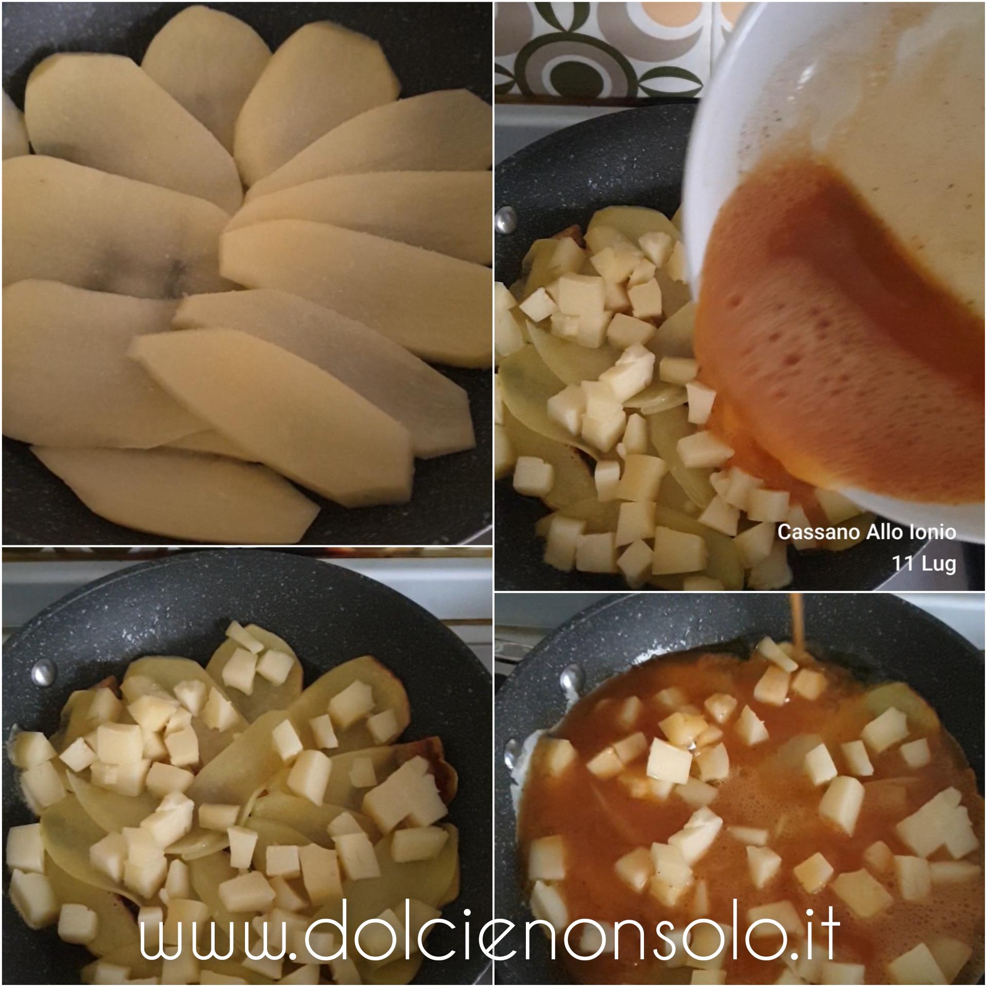 preparazione frittata con le patate