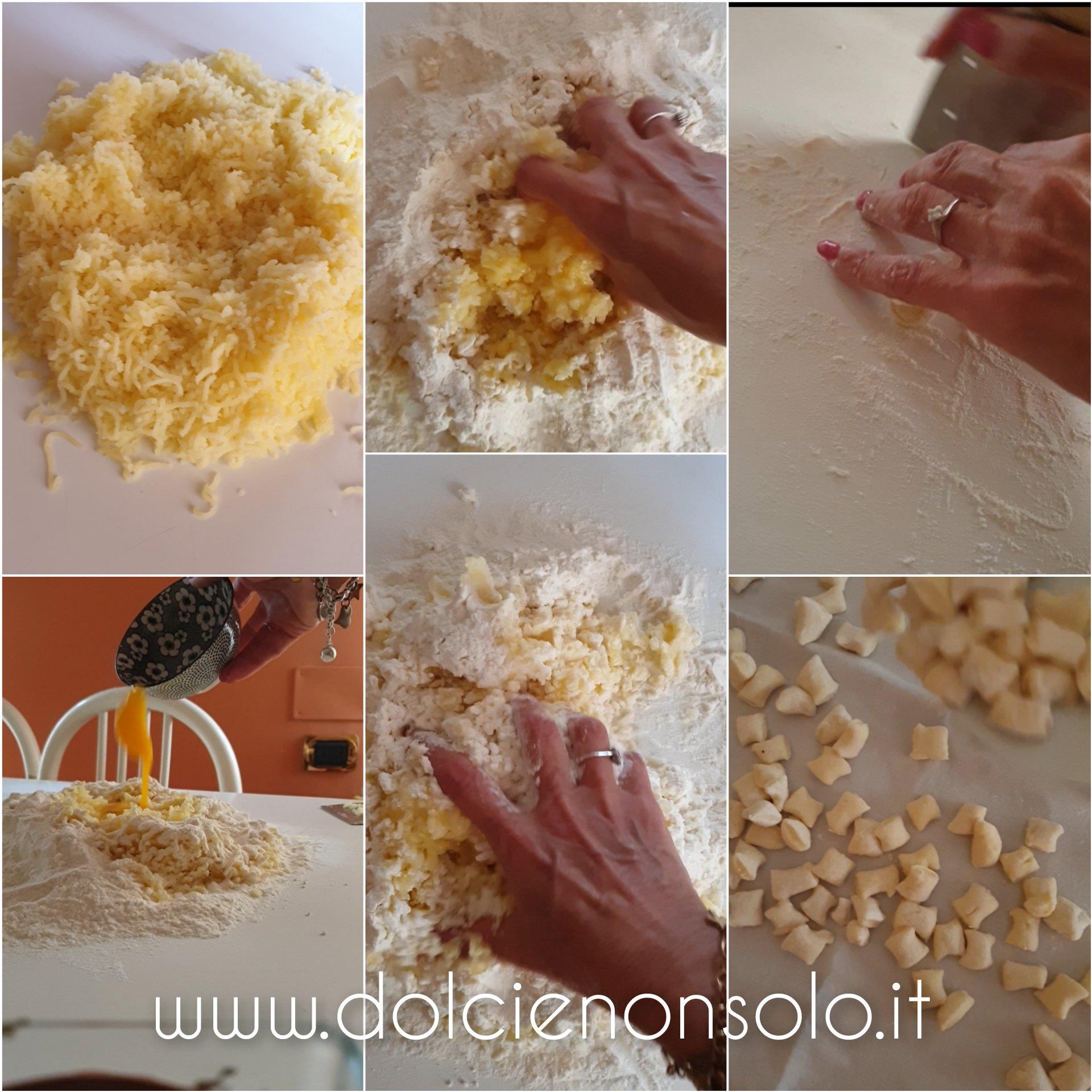 fasi di preparazione degli gnocchi di patate