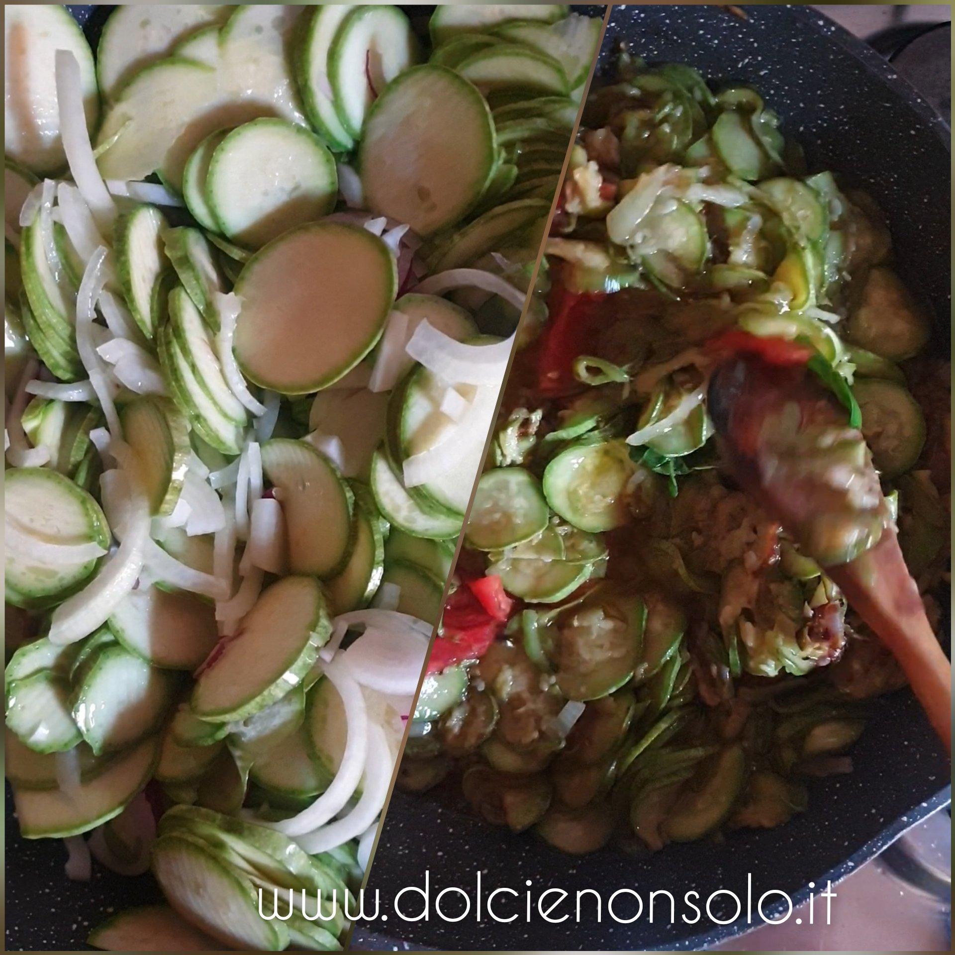 preparazione zucchine e cipolla